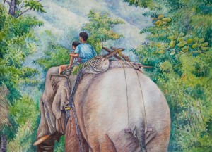 "Soe Moe Min, ""Returning Home on Their Elephant"", 2015."