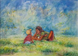 """Soe Moe Min, """"Little Girl Plays With Her Baby Brother"""", 2015."""