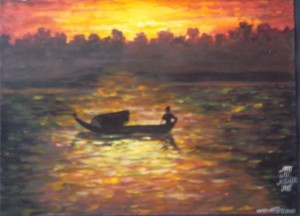 "Win Htet, ""Fishing and Sunset"", 2016."