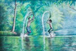 """Soe Moe Min, """"Playing in the River"""", 2017."""